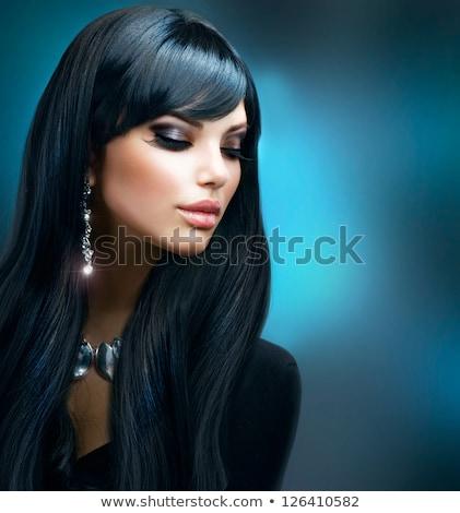 fantasie · jonge · brunette · ongebruikelijk · Blauw · oog · make-up - stockfoto © geribody