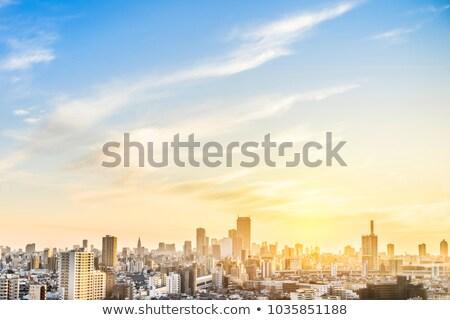 Escena amanecer nubes ciudad Japón cielo Foto stock © shihina