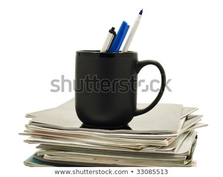 Kalemler kahve kupa dergiler siyah kupa Stok fotoğraf © Habman_18