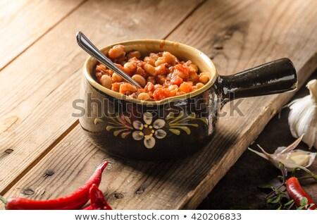 Saláta zöld kolbász étel háttér hús Stock fotó © M-studio