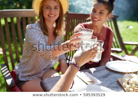 Woman drinking water on picnic Stock photo © HASLOO
