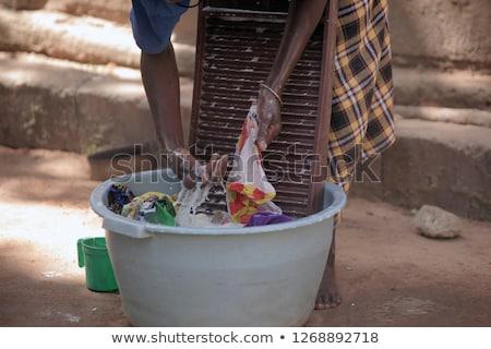 Mão lavagem lavanderia velho metal roupa Foto stock © haraldmuc