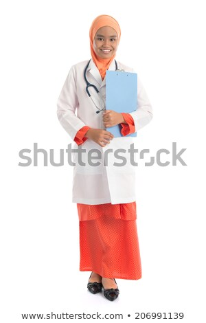 Árabe · médico · branco · robe · feliz · saúde - foto stock © szefei