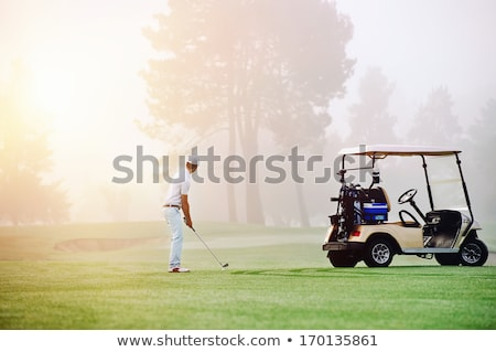 Golfbaan ochtend mist lege zonsondergang Stockfoto © CaptureLight