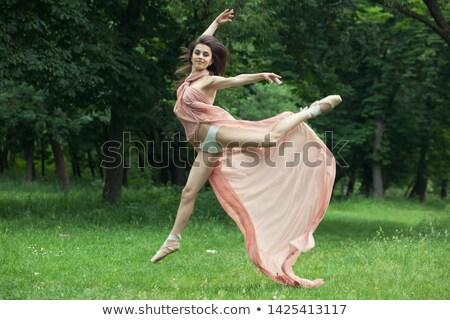Beautiful ballerina in yellow tutu wearing pointe shoes Stock photo © amok