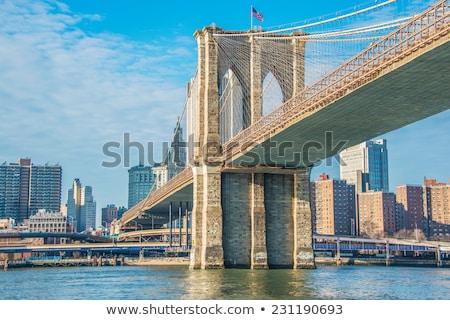 brooklyn bridge in new york on bright summer day stock photo © elnur