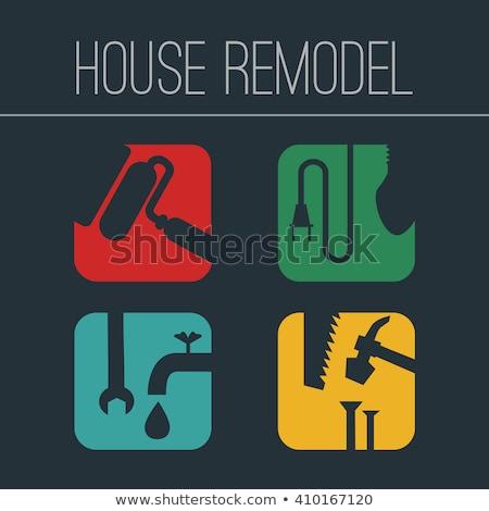 house remodel instruments silhouette set Stock photo © TRIKONA