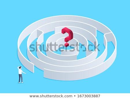 красный вопросе символ лабиринт центр свет Сток-фото © 3mc