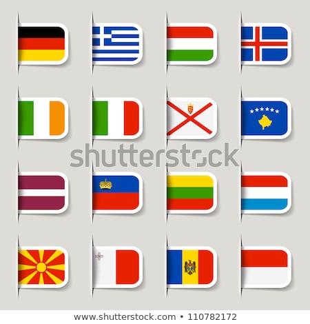 Zászló címke Lettország izolált fehér felirat Stock fotó © MikhailMishchenko