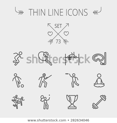 fencing sport thin line icon stock photo © rastudio