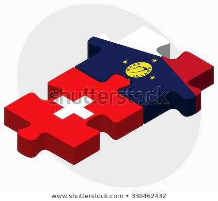 Stock photo: Switzerland And Wake Island Flags