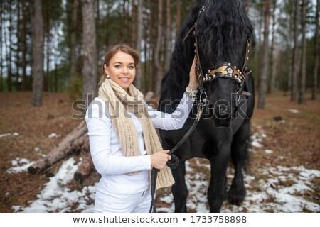 Beautiful lady the horse i Stock photo © fanfo