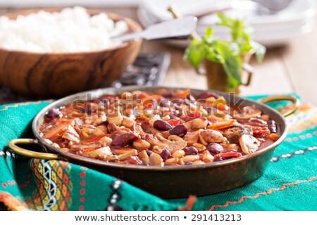Vegetarisch boon tomaat recept schotel bonen Stockfoto © Digifoodstock