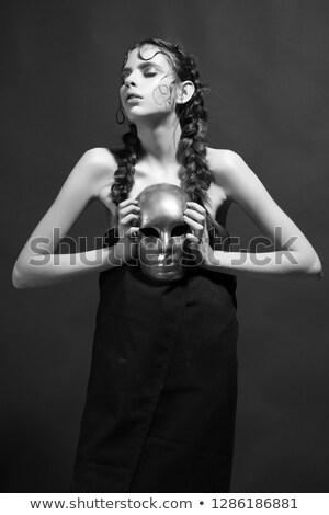 Coiffure belle jeune femme noir mystérieux Photo stock © Victoria_Andreas