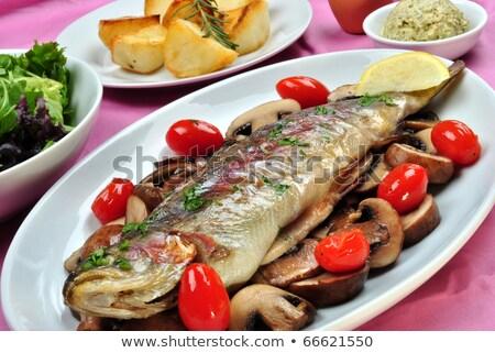 Grillés truite champignons de pomme de terre fenouil déjeuner Photo stock © Digifoodstock