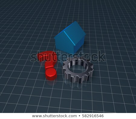 house model and gear wheel   3d rendering stock photo © drizzd