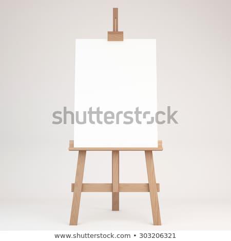 sztaluga · płótnie · pędzlem · model · sztuki · czerwony - zdjęcia stock © simply