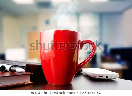 Stok fotoğraf: Siyah · kahve · fincan · kahve · molası · dizüstü · bilgisayar · defter