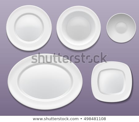 Stok fotoğraf: Oval · beyaz · plaka · temizlemek · modern