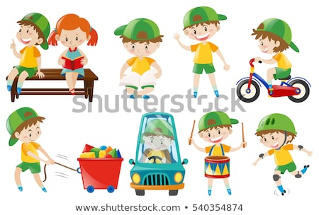 Boy doing different actions Stock photo © bluering