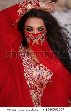 Gyönyörű fiatal has táncos fátyol izolált Stock fotó © gsermek