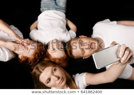 Stockfoto: Familie · smartphone · geïsoleerd
