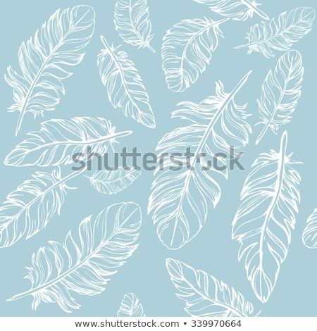 feathers bird seamless pattern set retro doodle style feather endless background texture backdr stock photo © lucia_fox