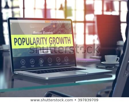 Laptop scherm populariteit groei 3D landing Stockfoto © tashatuvango