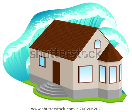 House insurance against floods. High wave covered home Stock photo © orensila