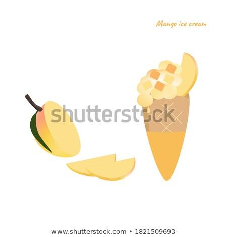 Joghurt mangó pár szemüveg házi készítésű desszert Stock fotó © mpessaris