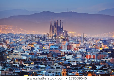 gyönyörű · Barcelona · városkép · tengerpart · naplemente · óceán - stock fotó © neirfy