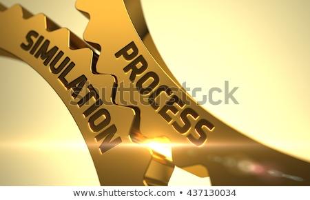 Procede simulatie gouden metalen versnellingen mechanisme Stockfoto © tashatuvango