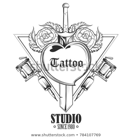 rózsa · kard · tetoválás · divat · szív · szépség - stock fotó © vectomart