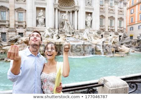 Iki turist çiftler çeşme seyahat eğlence Stok fotoğraf © IS2
