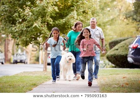 Foto stock: Família · caminhada · calçada · bebê · mãe · jeans