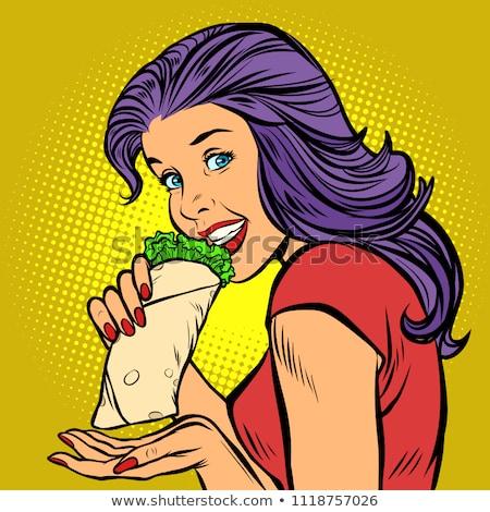 Brocheta hambriento mujer comer de comida rápida cómico Foto stock © rogistok