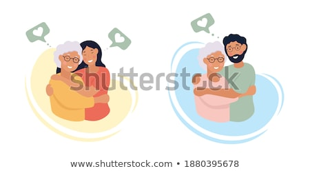 Grannys day icons design illustration set. Flat old character people and adult items background conc stock photo © Linetale