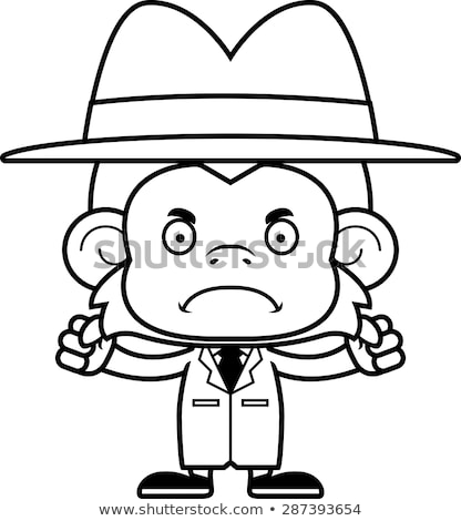 Cartoon Angry Detective Monkey Stock photo © cthoman