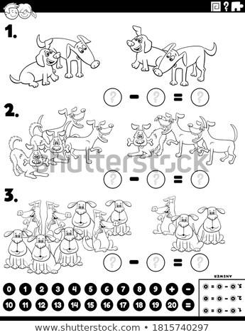 Subtraktion pädagogisch Aufgabe Kinder Farbe Buch Stock foto © izakowski