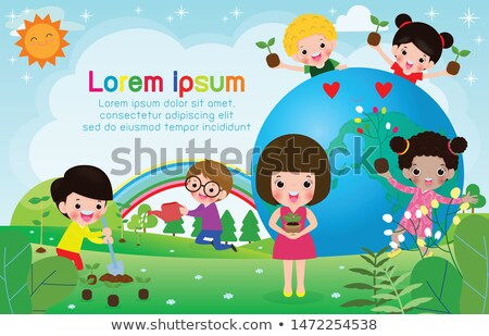 girl child watering tree earth day concept vector isolated illustration stock photo © pikepicture