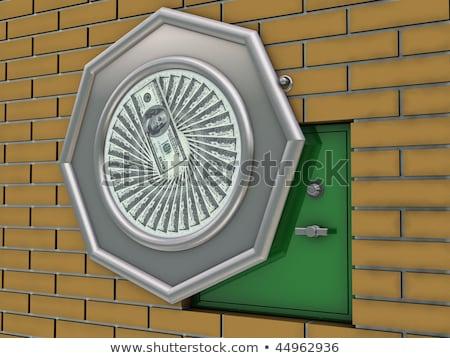 Nyitva rejtett fal széf mögött kép Stock fotó © albund