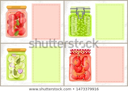 Preserved Food Poster Pickled Pepper and Zucchini Stock photo © robuart