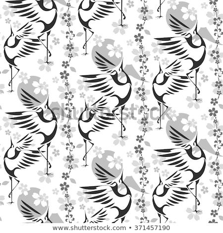 vector festive cards with crane and sakura tree stock photo © robuart