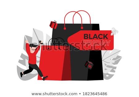 Black friday piros bevásárlószatyor rajzfilmfigura szöveg illusztráció Stock fotó © hittoon