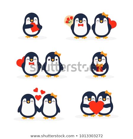 Karikatür penguen çiçekler örnek Stok fotoğraf © cthoman