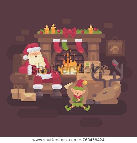 устал Дед Мороз северный олень эльф спальный огня Сток-фото © IvanDubovik