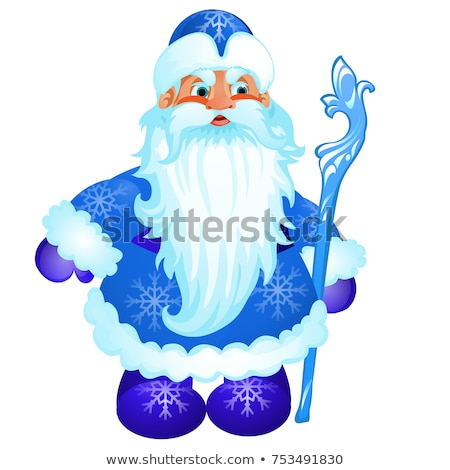 Animated Santa Claus in blue Christmas costume with ice stick isolated on white background. Sample o Stock photo © Lady-Luck