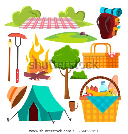Picnic Items Vector. Tent, Campfire, Sausages, Basket. Hike, Summer Vacation. Isolated Cartoon Illus Stock photo © pikepicture