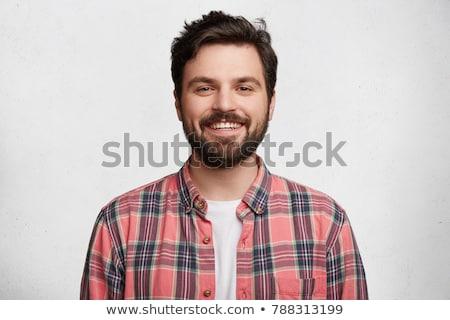Stockfoto: Portret · gelukkig · jonge · man · trui · sjaal · geïsoleerd