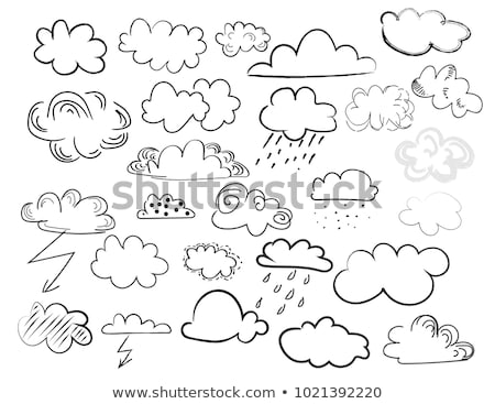 Cloud with snow and rain hand drawn outline doodle icon. Stock photo © RAStudio
